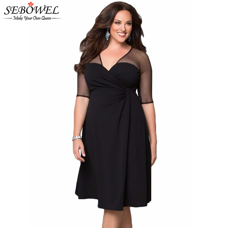 a4aff8c05d US $18.25 45% OFF|SEBOWEL Plus Size Sexy Black Mesh Party Dress Women Long  Sleeve Mesh Skater Dress 5XL Clothing Office Lady Dress 2019 Spring-in ...