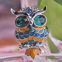 Kawaii Enamel Colorful Owl Crystal Rhinestone Blue Eye Bird Brooches Esmaltes De font b Unhas b