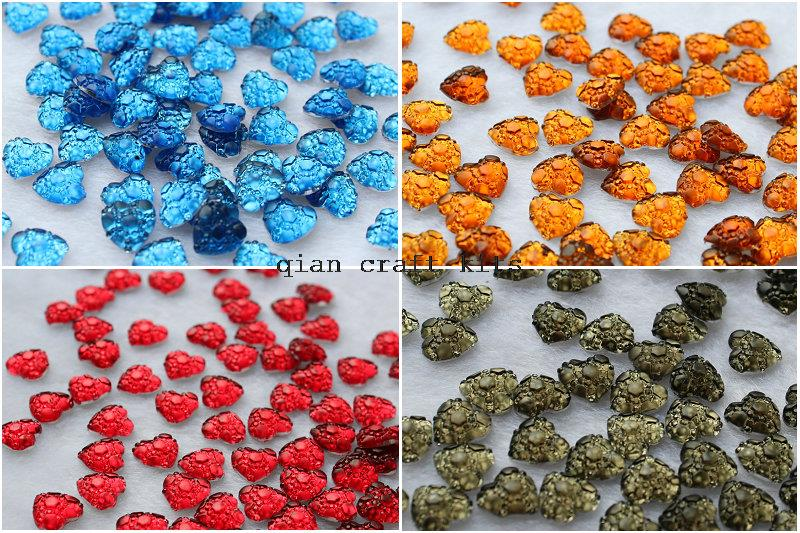 1000pcs mix color Matte art deco Hearts gem resin Cabochons DIY Flatback Appliques Buttons Supply stash Cabochon Cabs 10mm