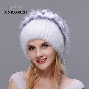 Image 4 - Woman winter Russian fur fashion real fur hat mink fur rabbit natural fox knit wool ski hat warm ear protection travel hat