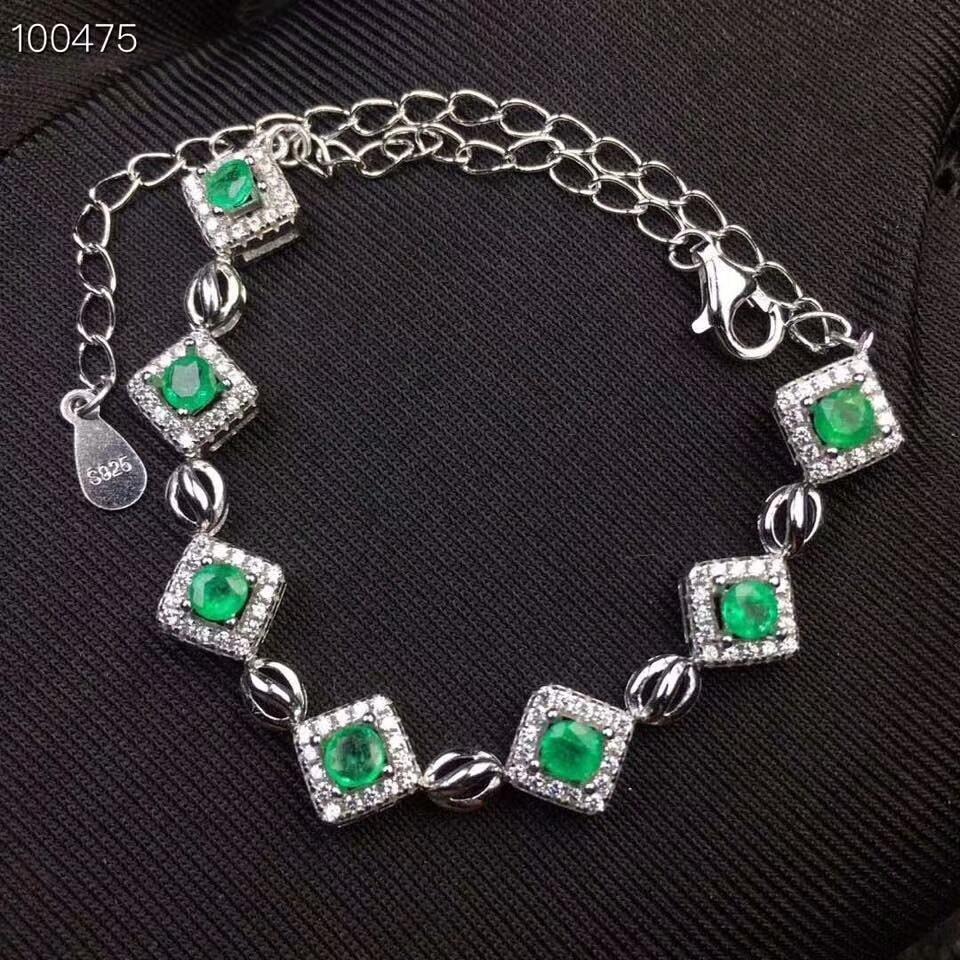 Здесь можно купить  [MeiBaPJ]Real Natural Emerald Gemstone Bracelet 925 Sterling Silver Green Stone Bangle for Women Fine Wedding Jewelry  Ювелирные изделия и часы