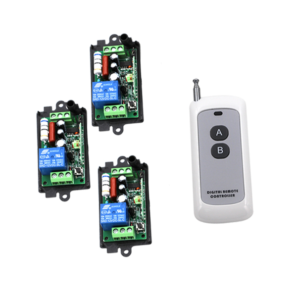 AC110V 220V 1CH RF Wireless Remote Control Switch System,1 X Transmitter + 3 X Receivers,Latched,315/433.92mhz SKU: 5370 2 receivers 60 buzzers wireless restaurant buzzer caller table call calling button waiter pager system