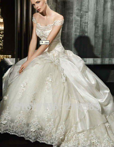 Free Sipping Embroidered Wedding Dress With Cap Sleeves Any Size