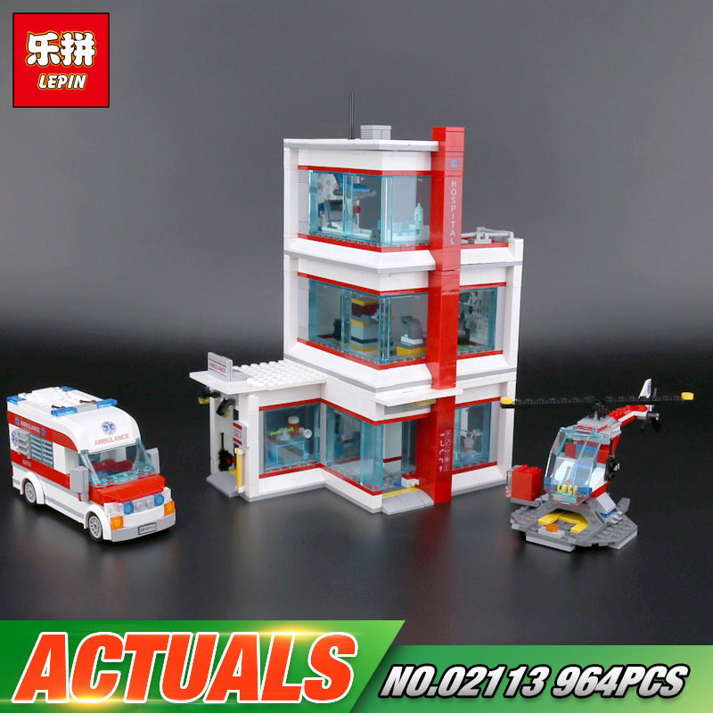 Lepin 02113 964Pcs City Series The 60204 City Hospital Set Building Blocks Bricks Educational Kids Toys As Birthday Gifts Model