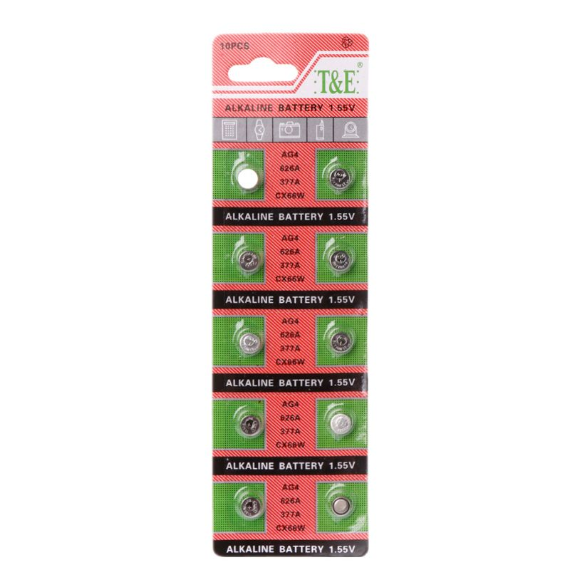 2019 New 10PCS Watch Coin Battery 1.5V AG4 377A 377 LR626 SR626SW SR66 LR66 Button Cell Batteries Toys Remote Camera