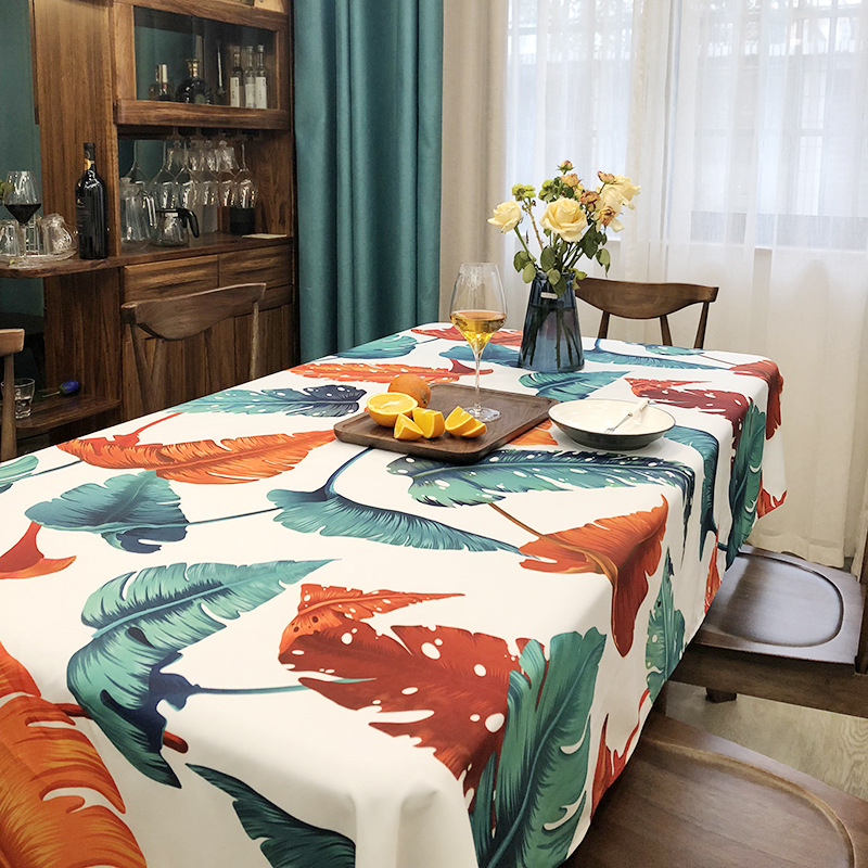 Tablecloth Rectangular Tropical Palm Leaf Style Plants Printed Table Cloth Home Protection Decoration Elegant Luxury Table Cover