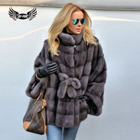 BFFUR Camouflage Women Clothes 2018 Real Mink Fur Coats For Women Genuine Thick Warm Regular O Neck Full Pelt Fashion Belt Solid