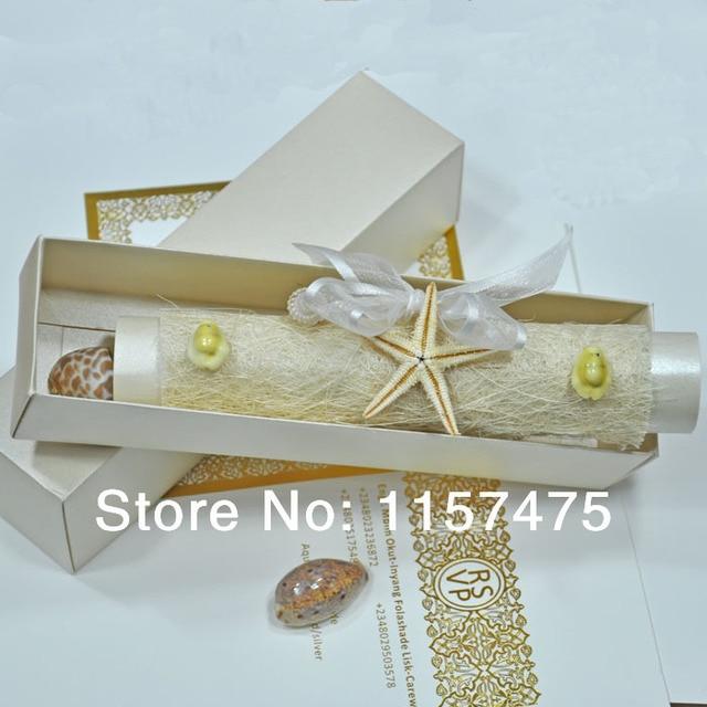 HI2056 Ocean Theme Invitation Scroll Wedding Invitations with