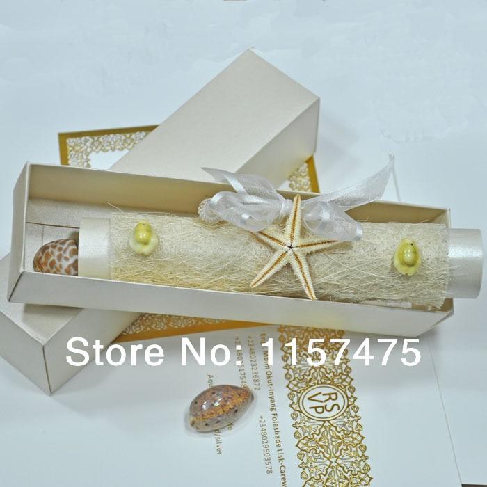 HI2056   Ocean Theme Invitation Scroll Wedding Invitations With Natural  Starfish(China)