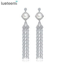 LUOTEEMI New Fashion Jewelry Long Tassel Drop Earrongs Full CZ Crystal Pendant with Single Natural Pearl Luxurious Women Brincos