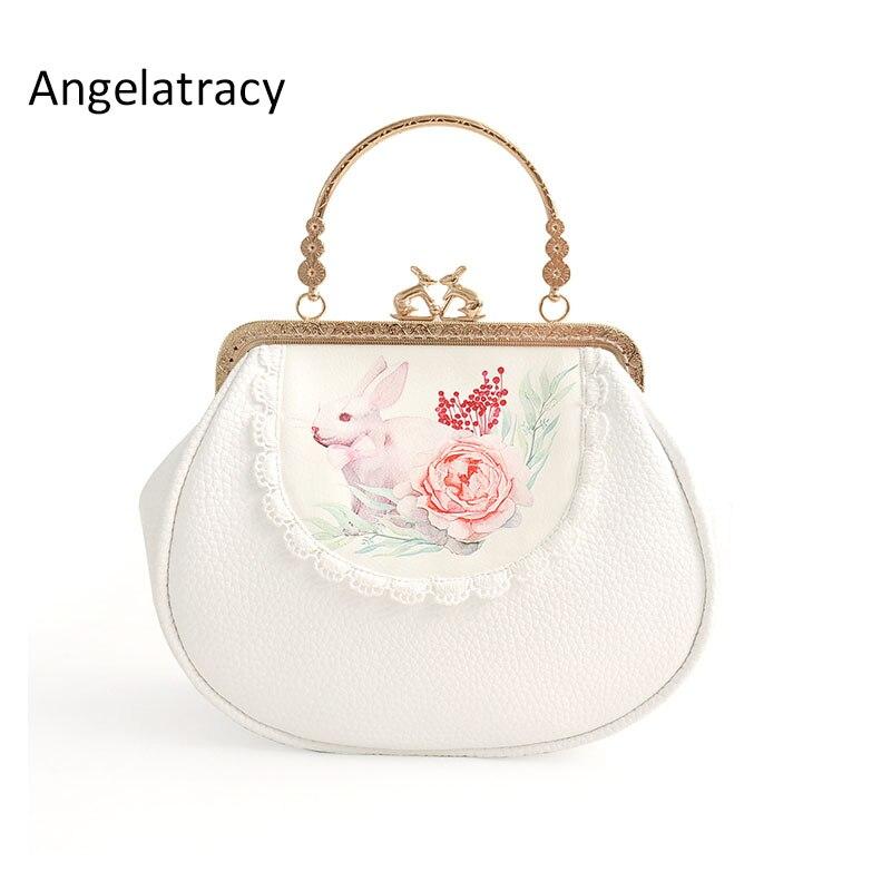 Angelatracy 2018 ручная работа белая кружевная мягкая PU короткая сумка с кроликом рамка цепь крест тело цветочный цветок рот Золотая сумка сумки