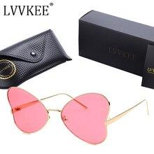 2017 new fashion antirreflejos uv400 lente colorida mariposa de las señoras gafas de sol mujeres de la forma del corazón marco de aleación de gafas de sol