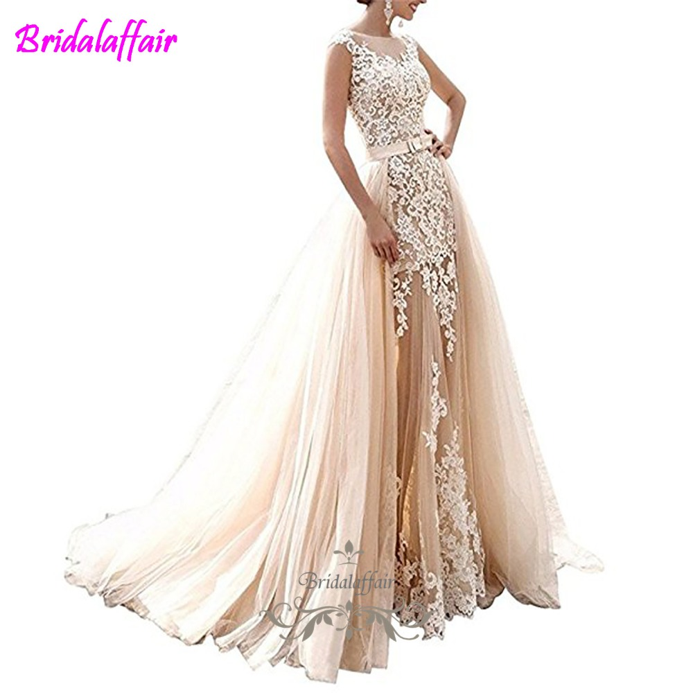 Pearls Appliques Country Wedding Dress Sleeveless detachable wedding dress train Mermaid Elegant Mermaid Bride Gown in Wedding Dresses from Weddings Events