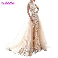 Pearls Appliques Country Wedding Dress Sleeveless detachable wedding dress train Mermaid Elegant Mermaid Bride Gown