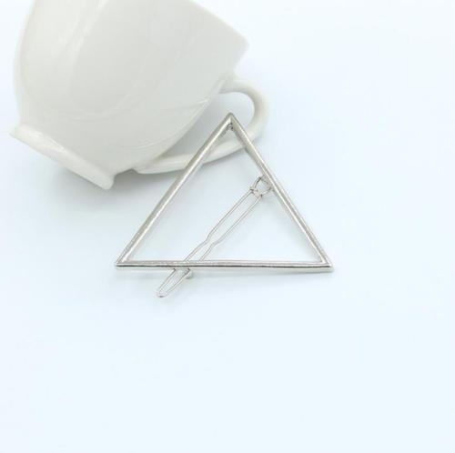 HTB1HDkePpXXXXc2XVXXq6xXFXXXF Chic Gold/Silver Plated Metal Triangle Circle Moon Hair Clip For Women - 4 Styles