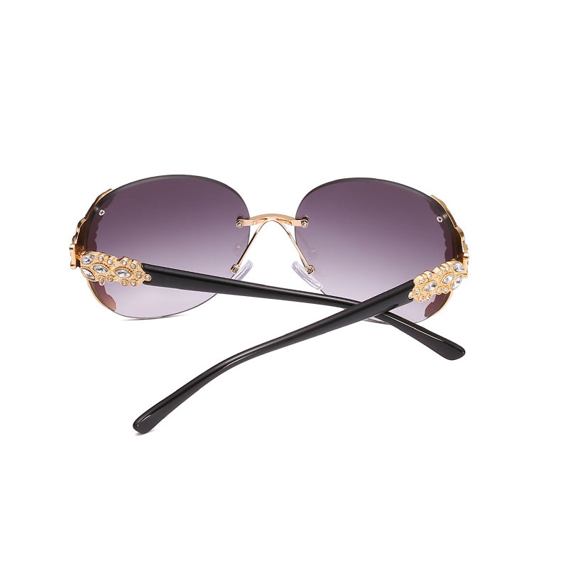 HUHAITANG Newest Luxury Sunglasses Women Vintage Noble Diamond Frameless Oversized Frame Sun Glasses UV400 High Quality Eyewear