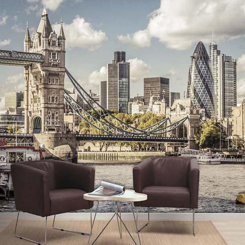 Custom 3D Photo Wallpaper European Style London Bridge City Landscape Living Room Bedroom TV Background Wall Murals Wallpaper