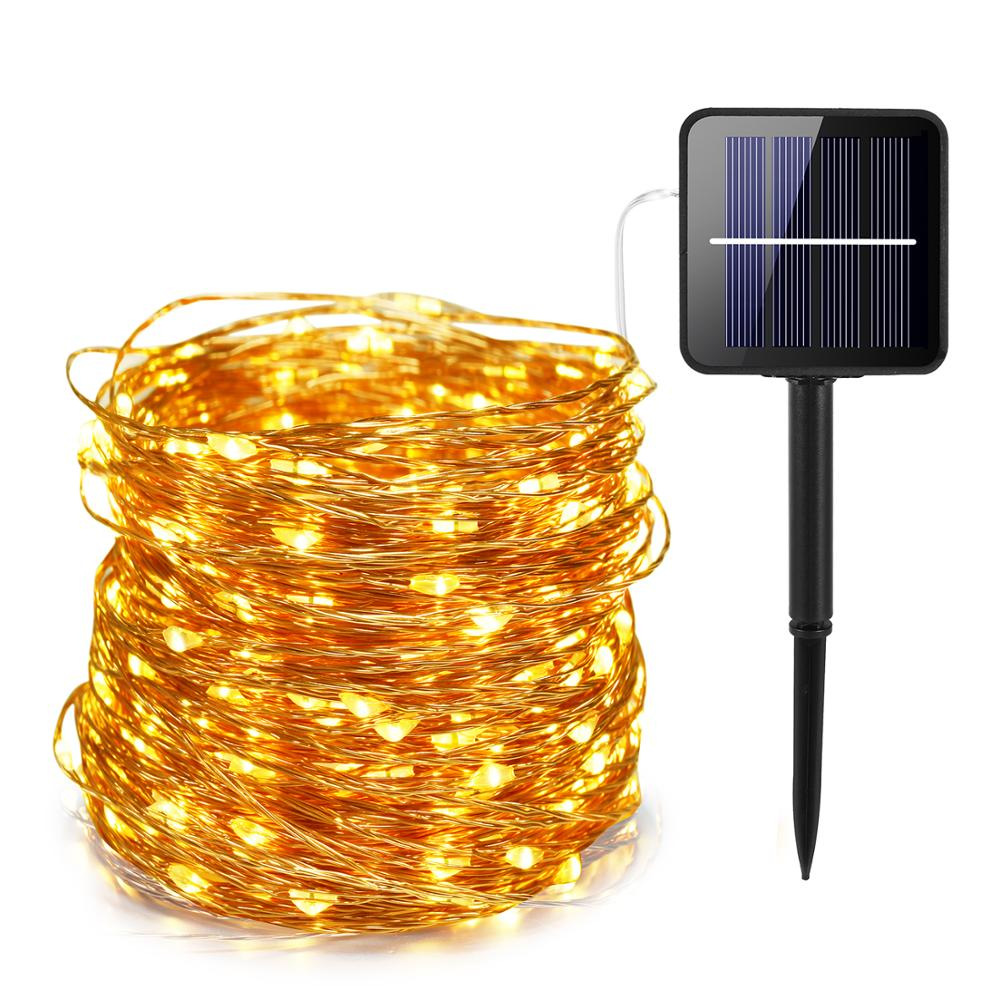 41m warm white led solar Light Waterproof LED Copper Wire String Holiday Outdoor led strip Christmas Party Wedding Decoration