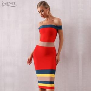 Image 5 - Adyce nouveau été Bandage robe femmes Vestidos 2020 Sexy Slash cou court sans manches hors épaule célébrité robes de soirée