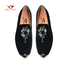 hot deal buy jeder schuh men's shoes metal toes with crystal buckle loafers men's wedding and banquet shoes men's flat shoes casual shoes
