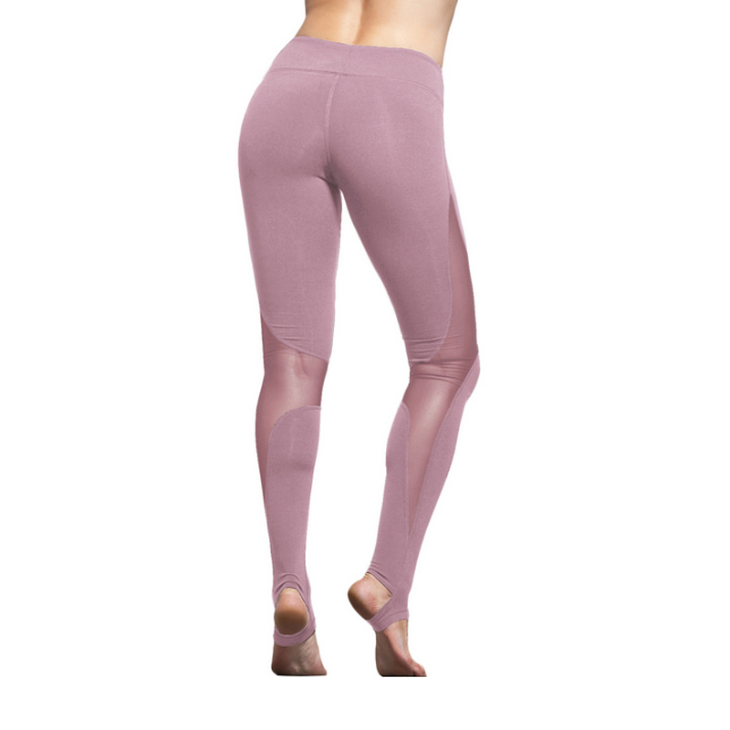 Women Yoga Compression Pants Mesh Insert Stirrup Leggings Pants Elastic Tights Sexy Yoga Capri for Workout Gym Jogging