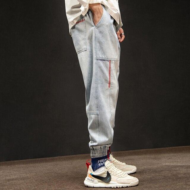 Loose Denim Pants Men Jeans Casual Japanese Streetwear Cargo Jeans Hip Hop Denim Overalls Men Vintage Baggy Jeans Joggers 50na72