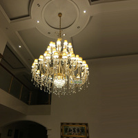 modern large crystal chandelier with fabric cover gold large hotel chandelier glass arm crystal chandelier Led ceiling lamp