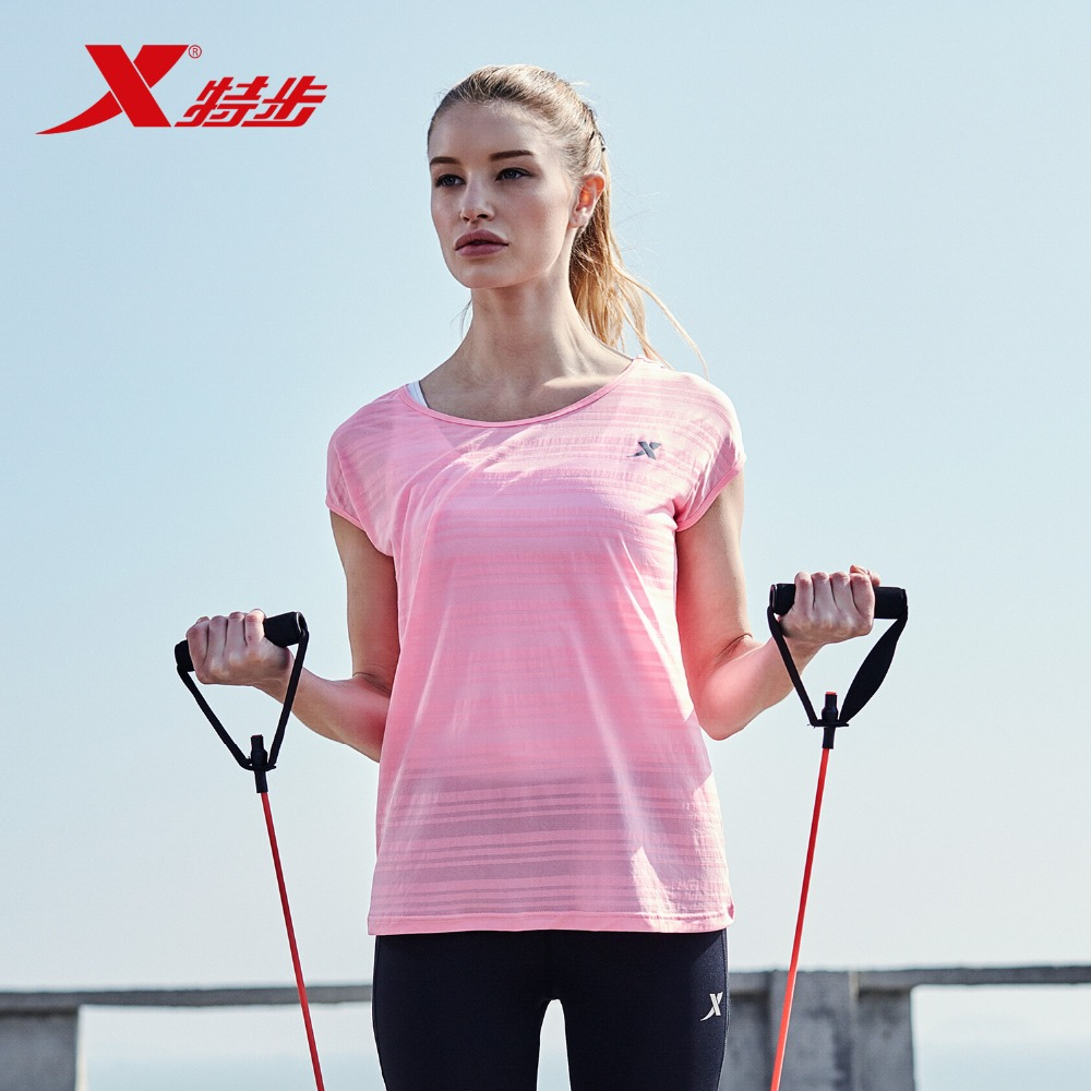 XTEP Original Brand Women Running Shirts Short Sleeve Moisturizing Qucik Dry O-neck Shirt Super Light Lady Tops 883128019009