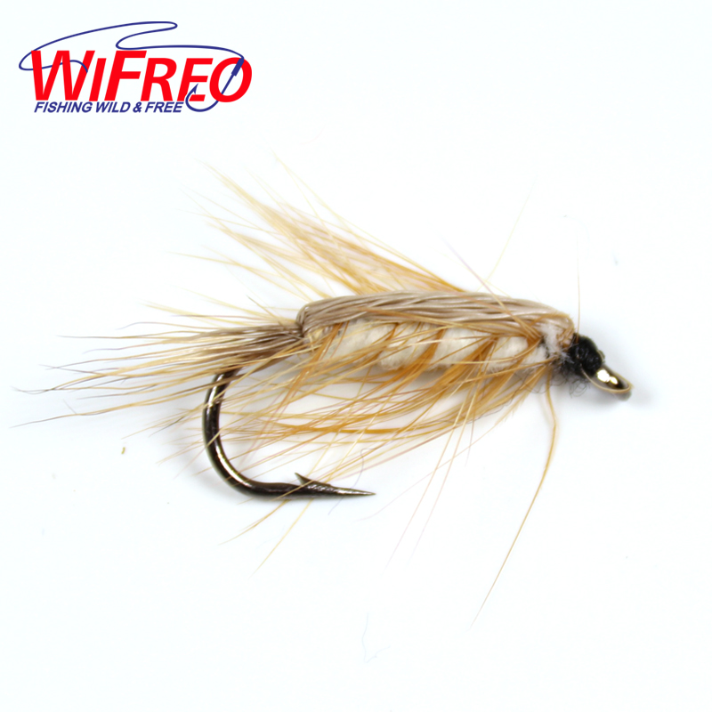 Wifreo 10PCS #6 White Body Woolly Worm Brown Caddis Nymph Fly Deer Hair Beetle Trout Fly Fishing Lure & Bait woman high heel shoes 2017 newest pointed toe ankle strap pumps big butterfly knot thin heels shoes the bride high heels