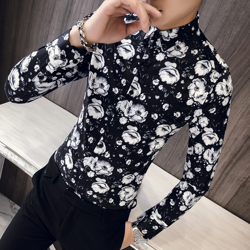 British Style Men Floral Shirt Brand New Slim Fit Autumn Shirts Mens Long Sleeve Turn Down Collar Dress Shirts Prom Tuxedo 3XL-M