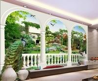 Peacock Fantasy 3d TV backdrop bird garden 3d room wallpaper landscape 3d mural paintings