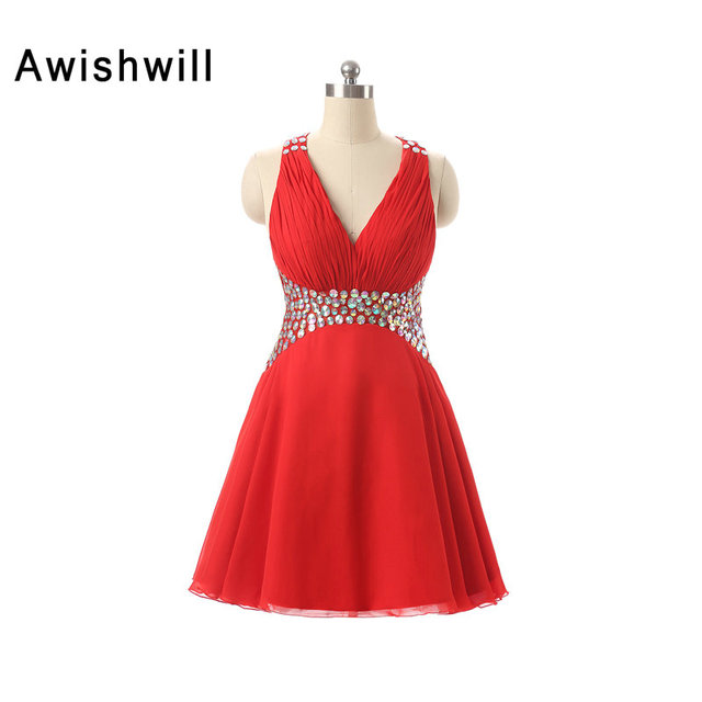 V neck Sexy Backless Short Red Cocktail Dresses 2018 Masquerade ...