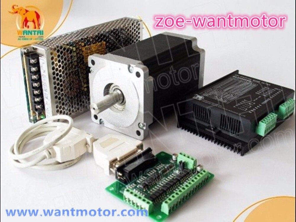 CNC Wantai 1Axis Nema 34 Stepper Motor WT86STH118-6004A 1232oz-in 5.6A +Driver DQ860MA 80V 7.6A ROHS CE ISO