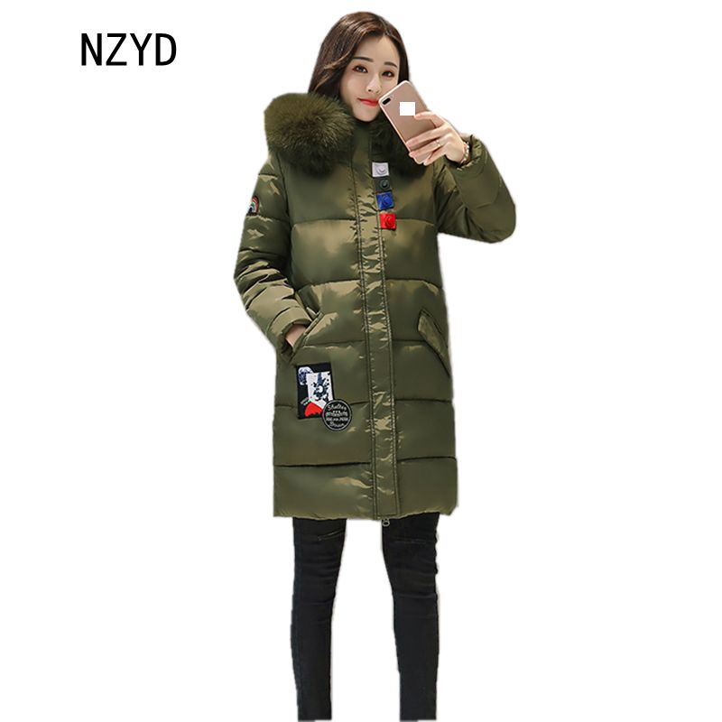 New Women Winter Parkas 2017 Hooded Thick Warm Medium long Down Cotton Jacket Long sleeve Slim Big yards Female Coat LADIES230 2017 new winter fashion women parkas hooded thick super warm medium long coat casual slim big yards cotton padded jacket nz308