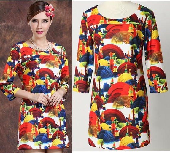 New Print Dresses Novelty Dress Casual Digital Printed Tunic 3/4 Sleeves Plus Size Big Size Vintage Cute Dress XXXL AW13D027