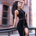 2016 new women metal ring beading bandage dress black white bodycon knee length sexy split luxury evening party dresses HL588