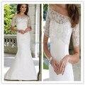 2016 Fora do ombro bolero com jacket blush train Two-piece luxuoso cetim e laço da sereia vestido de casamento Espanhol