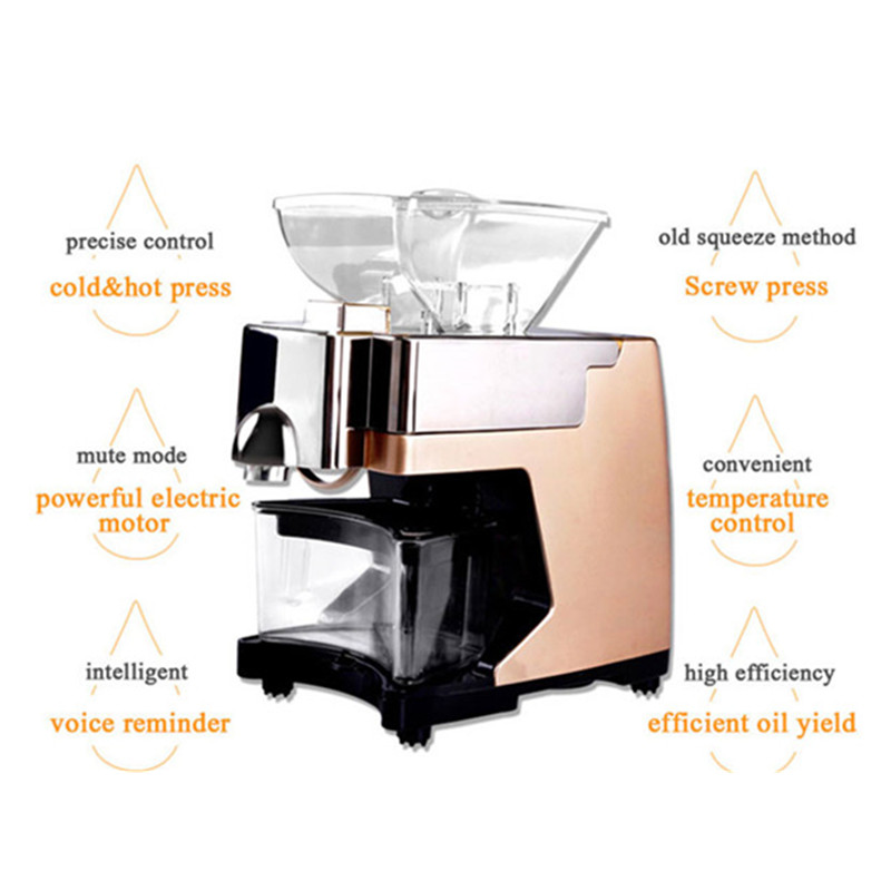 Home use mini peanut oil press machine commercial hot and cold sunflower oil extractor expeller presser new automatic small home oil press machine cold hot press for peanut coconut sunflower seeds oil extractor oil press machine