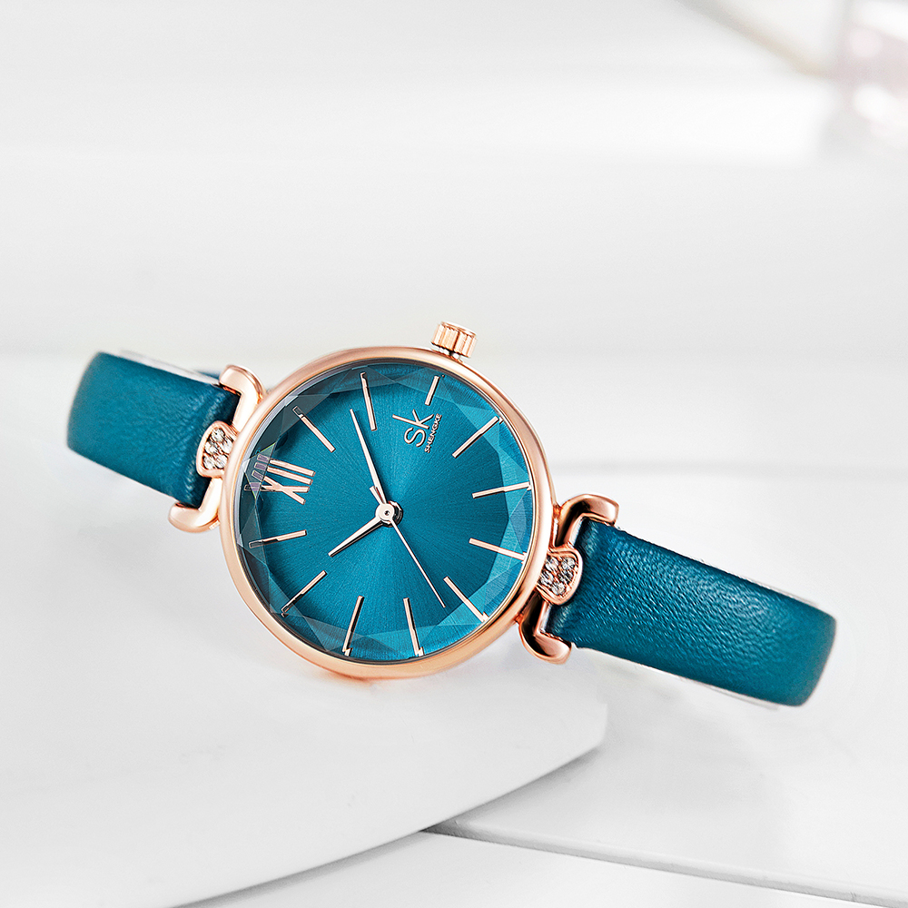 Shengke Quartz Wristwatches Relogio Feminino Ladies Leather Watch Quartz Classic Casual Analog Watches Women Simple Watch Gift