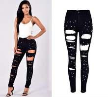 Европейские и американские рваные джинсы с завышенной талией