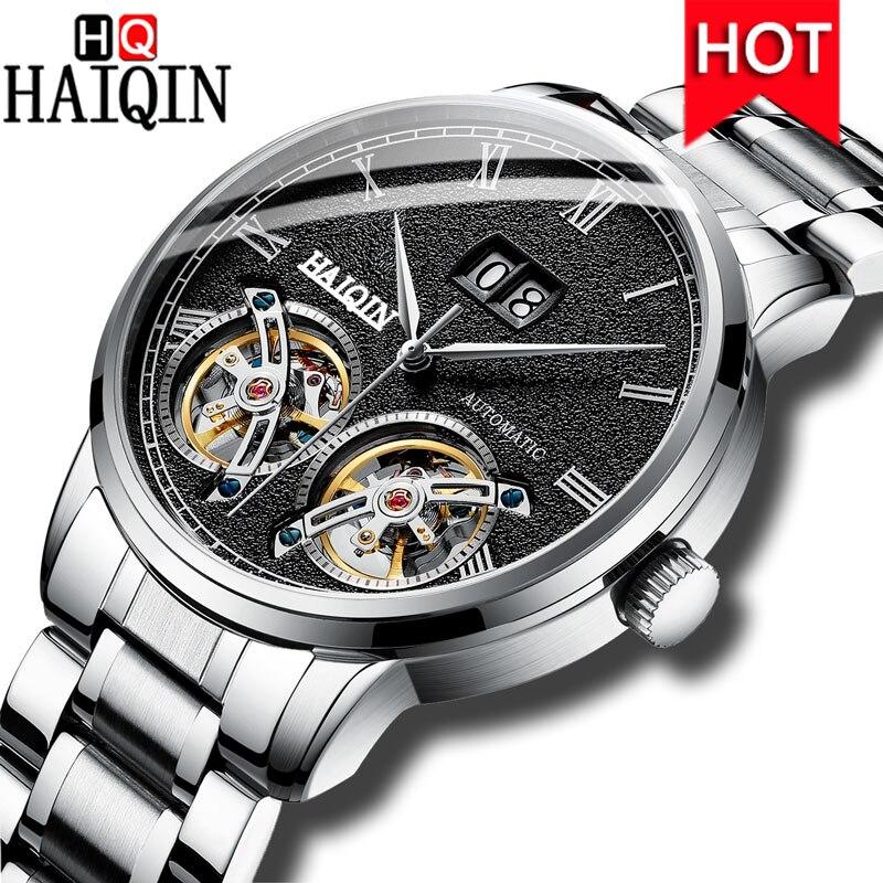 HAIQIN 2019 新メンズ腕時計トップブランドの高級時計男性自動/機械式/防水/トゥールビヨン/腕時計男性時計 Montre オム