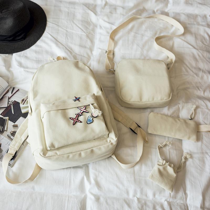 Menghuo 5 Pcsset Women Backpacks Cute Plane Badge School Bags For Teenage Girls Simple Canvas Backpacks Ladies Shoulder Bags (10)