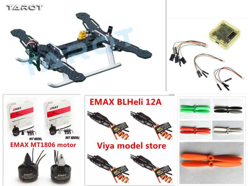 New Tarot 250 QAV Carbon Fiber Quadcopter TL250A with Emax MT1806 Motor & BLHeli 12A ESC & CC3D Flight Controller for FPV mini zmr250 carbon fiber quadcopter cc3d evo control mt2204 2300kv motor emax blheli firmware 20a esc 5045 prop led lights board