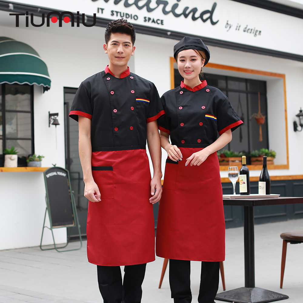 6 Colors Wholesale Unisex Kitchen Chef Uniforms Short Sleeve Breathable Double Breasted Chef Jackets & Apron Bakery Food Service