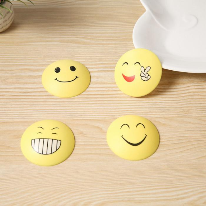 4pcs Rubber Door Handle Knob Smile Face Emoji Sticker Crash Pad Wall Protector Bumper Guard Anti Collision Stopper Hg99 Furniture Accessories