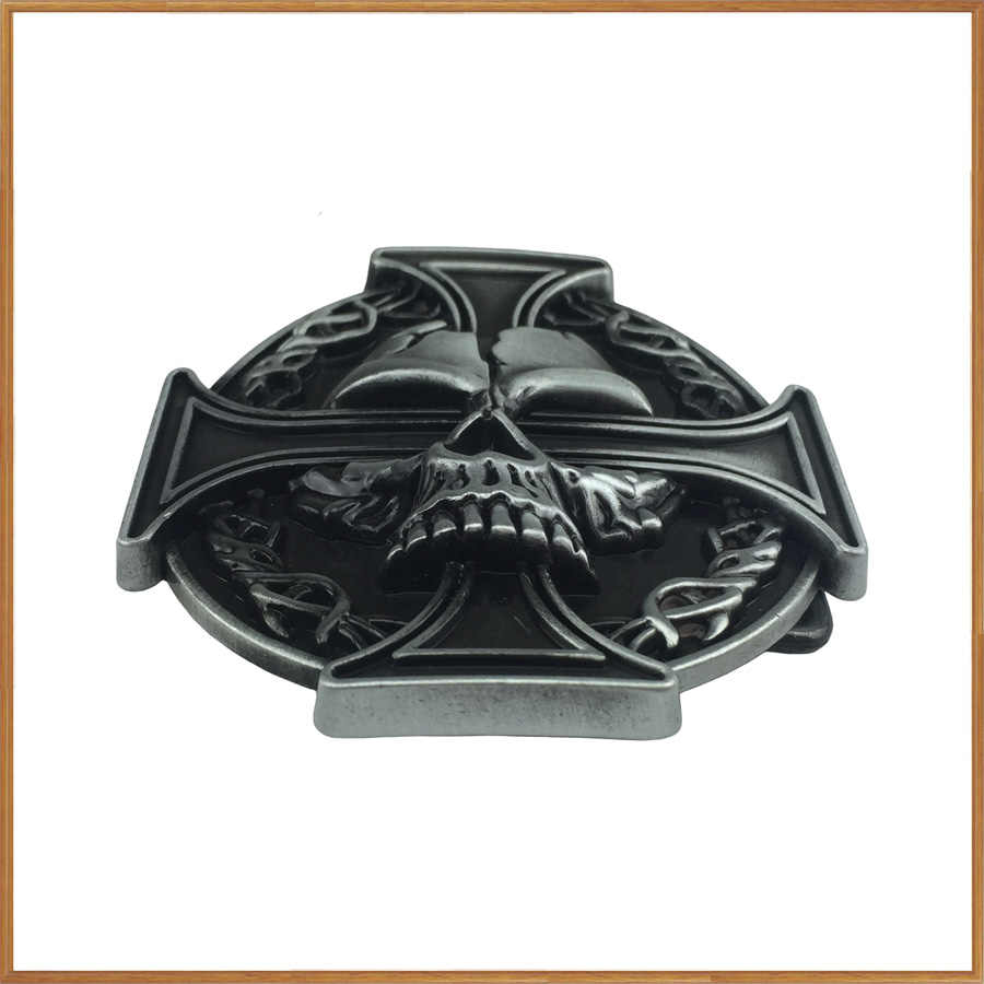 BuckleClub retro western cross skull กางเกงยีนส์ของขวัญเข็มขัดหัวเข็มขัด FP-03164-2 PEWTER FINISH สำหรับชาย 4 ซม.ความกว้าง loop drop shipping