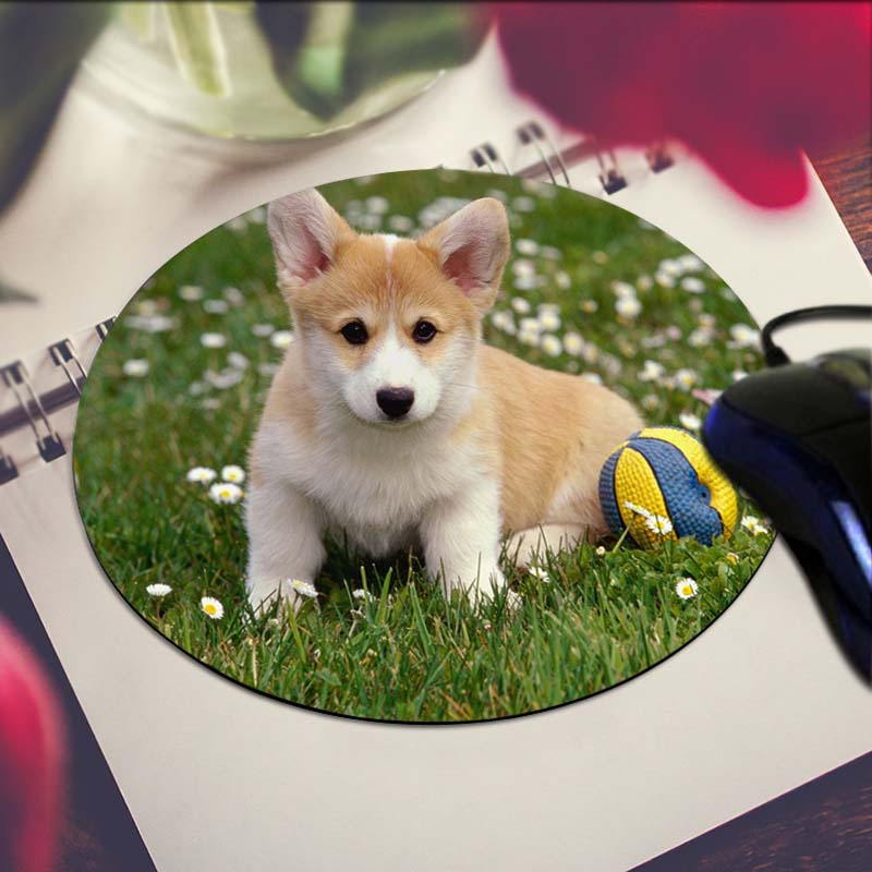 Pembroke Welsh Corgi Art Print Mouse Pad Anti-Slip Round Mousepad Gift Gaming Speed Mice Mats