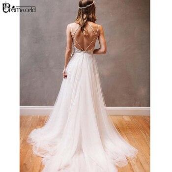 robe de mariee Ivory A-Line Tulle Beach Wedding Dresses Spaghetti Straps Rhinestone Backless Bridal Dress Vestido De Noiva 2019