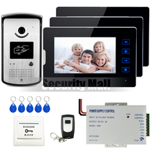 Wired 7″ Touch Screen Video Door Phone Intercom System 3 Monitors + Waterproof RFID Access Camera 12V Power Supply FREE