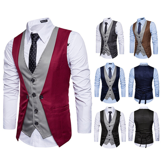 Men Vest 2018 Brand Male Patchwork Waistcoat Fashion Fake Two Piece Wedding Business Casual Men Suit Vest Groom Singer Clothes